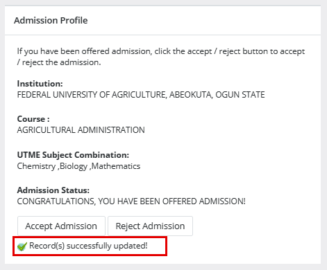 Admission Accepted
